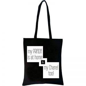 PREMYO Tote bag en coton noir imprimé avec citation et motif drôle. Sac shopping avec impression My PRADA Home. Sac de courses réutilisable en tissu et anses longues Sac fourre-tout Sac cabas en toile de la marque PREMYO image 0 produit