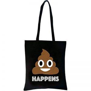 PREMYO Tote bag en coton noir imprimé avec Emoji Merde motif drôle. Sac shopping avec impression Émoticône. Sac de courses réutilisable en tissu et anses longues. Sac fourre-tout. Sac cabas en toile de la marque PREMYO image 0 produit