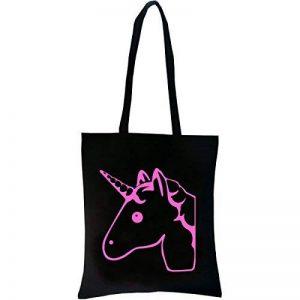 PREMYO Tote bag en coton noir imprimé avec licorne rose très mignonne. Sac shopping impression licorne. Sac de courses réutilisable en tissu et anses longues. Sac fourre-tout femme. Sac cabas en toile de la marque PREMYO image 0 produit