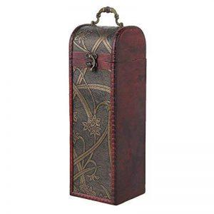 Rdexp Marron Rouge en bois vintage rectangulaire Boîte cadeau cylindrique Bouteille de Vin Box de stockage de support jonquille Motif de la marque RDEXP image 0 produit