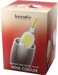 Refroidisseur de vin à double paroi – Fabriqué en acier inoxydable de haute qualité – Design élégant à la surface mat brossée – Garantit la fraîcheur de vos vin à chaque fois – sans BPA – Refroidisseur de bouteilles de vin de la marque Innovee Home image 0 produit