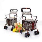 S-L-C Elderly Scooter Folding Shopping Cart Seat peut prendre quatre tours pour acheter de la nourriture pour aider à pousser un petit chariot chariot âgé chariot ( Couleur : C-Red ) de la marque BJL Caddie image 2 produit
