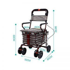 S-L-C Elderly Scooter Folding Shopping Cart Seat peut prendre quatre tours pour acheter de la nourriture pour aider à pousser un petit chariot chariot âgé chariot ( Couleur : C-Red ) de la marque BJL Caddie image 0 produit