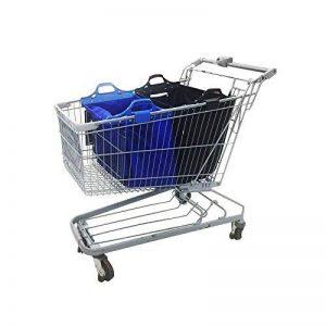 Sac à provisions réutilisable Vaiigo, grands sacs de shopping solides sacs d'épicerie supermarché chariot de courses sac chariot de courses (lot de 2) bleu/noir de la marque VAIIGO image 0 produit
