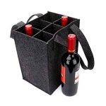 Sac à vin en feutre épais avec poignée, HomeYoo bouteille de vin cadeau sac pour la partie de voyage d'anniversaire de vacances, réutilisable lavable avec diviseur amovible, matériaux non allergènes (6 Bouteilles, Gris foncé) de la marque HomeYoo image 1 produit