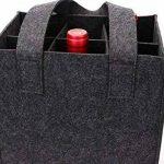 Sac à vin en feutre épais avec poignée, HomeYoo bouteille de vin cadeau sac pour la partie de voyage d'anniversaire de vacances, réutilisable lavable avec diviseur amovible, matériaux non allergènes (6 Bouteilles, Gris foncé) de la marque HomeYoo image 3 produit