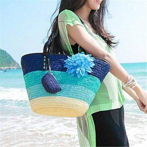 Sac de plage Shopping sac de paille panier tissé coloré plage blé paille tissé paille sac tricoté sac de rangement à la maison Bohème mode sac à main coloré rayé plage sac fourre-tout de la marque iBasteFR image 0 produit