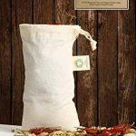 """Sac de produits réutilisables Muslin Organic - Set de 6 (2 grands, 2 moyens, 2 petits) Tous les sacs de produits en coton organique naturel de coton et de lin GOTS Approved (2 of Lg., Med. & Sm.) (8x10 """", 10x12"""", 15x12 ')) de la marque All Cotton and Line image 4 produit"""