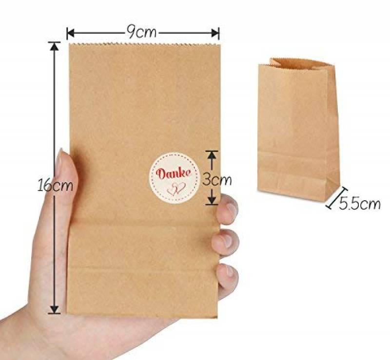 b25858da14 ... Mini Sachets Cadeau 9 x 16 x 5 cm 70 g/m² Papier Kraft Sacs avec 100  pièces Danke Sticker pour sacs cadeaux de Pques Pte à biscuits Emballage de  la ...