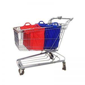 Sac à provisions réutilisable Vaiigo, grands sacs de shopping solides sacs d'épicerie supermarché chariot de courses sac chariot de courses (lot de 2) rouge/bleu de la marque VAIIGO image 0 produit