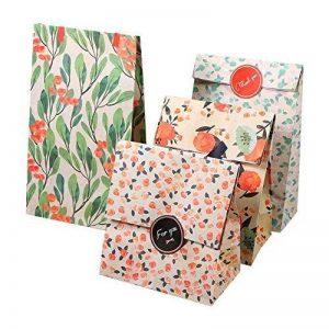 Sachets Kraft Sac Cadeau Papier d'emballage cookie avec autocollant en motif fleurs de style coréen pour mariage anniversaire de la marque Yosoo image 0 produit
