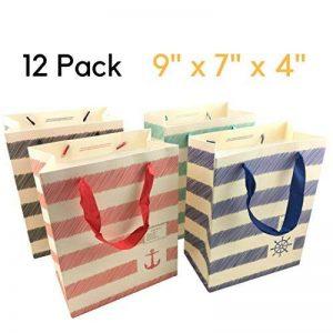 Sacs cadeaux Medium - 12 pcs Panier sac de papier de Noël, sacs-cadeaux de fête d'anniversaire [23 x 18 x 10 cm] de la marque NimNik image 0 produit
