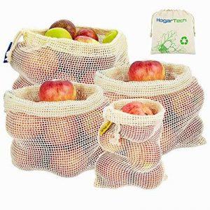 Sacs Réutilisables à Fruits et Légumes,Sac de Provisions en Coton Lot de 4 Sacs à Grille| Sac Alimentaire(1*S, 2*M, 1*L) de la marque HogarTech image 0 produit