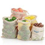 Sacs Réutilisables à Fruits et Légumes,Sac de Provisions en Coton Lot de 4 Sacs à Grille| Sac Alimentaire(1*S, 2*M, 1*L) de la marque HogarTech image 3 produit