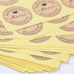 SERWOO (300pcs) 25 Feuilles de Rond Merci Autocollants avec Coeur -Fait Main avec Amour & Spécialement pour Vous Stickers Etiquettes pour Mariage Cadeau ou Enveloppe(Dia : env.3,8cm) de la marque SERWOO image 3 produit