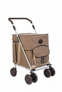 Sholley Chariot Prime Deluxe ' Hurlingham' Chariot de Courses Pliable Toile de Coton naturel Taupe, reel Lin et Italien Cuir Marron Riche, Caddie de Courses Forte, Pousette de marché, 4 roues, 6 roues (Petite) de la marque Sholley image 0 produit