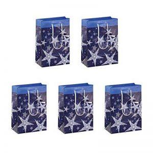 Sigel GT026 Lot de 5 sacs cadeaux Noël, 23 x 17 cm, bleu et blanc de la marque Sigel image 0 produit