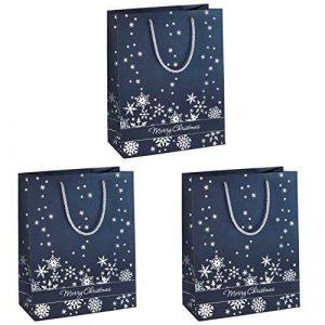 Sigel GT110 Lot de 3 sacs cadeaux Noël, 33 x 26 cm, bleu nuit et argent de la marque Sigel image 0 produit