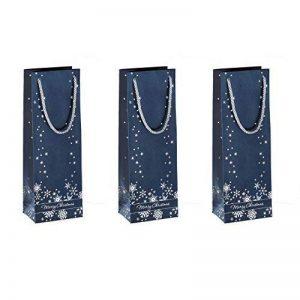 Sigel GT112 Lot de 3 sacs cadeaux Noël pour bouteilles, 36 x 12 cm, bleu nuit et argent de la marque Sigel image 0 produit