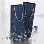 Sigel GT112 Lot de 3 sacs cadeaux Noël pour bouteilles, 36 x 12 cm, bleu nuit et argent de la marque Sigel image 4 produit