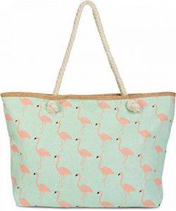 styleBREAKER Sac de plage XXL avec imprimé flamants roses et fermeture à glissière, sac à main, cabas, femmes 02012234 de la marque styleBREAKER image 0 produit