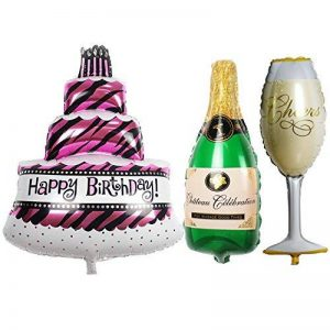 TRIXES Ensemble de 3 Grands Ballons Gâteau Bouteille de Champagne Verre pour Fête d'anniversaire de la marque TRIXES image 0 produit