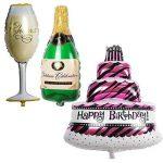 TRIXES Ensemble de 3 Grands Ballons Gâteau Bouteille de Champagne Verre pour Fête d'anniversaire de la marque TRIXES image 1 produit