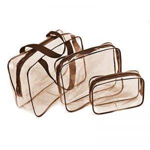 Trousse de Toilette Transparente ,Set de Voyage dans Bagages à Main, Sac Cosmétiques pour Hommes et Femmes 3 en 1 Cadeaux Sacs de maquillage et étuis Sac en plastique Sac de voyage en PVC de la marque SheShy image 0 produit