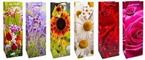 TSI 84293 Lot de 12 sacs cadeau pour bouteille, 6 motifs florals, format 33 x 10 x 9 cm de la marque TSI image 0 produit