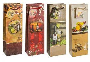 TSI 85284 Lot de 12 sacs cadeau pour bouteille, 4 motifs sur le thème du vin, format 33 x 10 x 9 cm de la marque TSI image 0 produit
