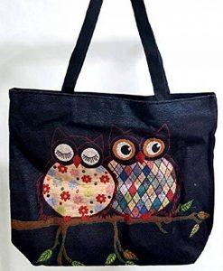 WITHMOONS Sac de Course Réutilisable Natural Cotton Canvas Tote Bag Grocery Bags Reusable EB005 (Bluecouple) de la marque WITHMOONS image 0 produit