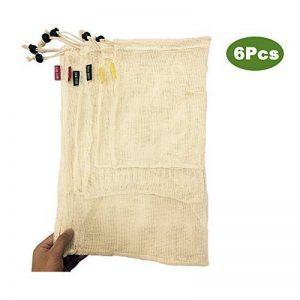 WooWell réutilisable sacs de légumes en coton, sacs de fruits et sacs de légumes, sacs à provisions en maille respirant, beaux sacs en coton naturel, 6 pièces - 2x S, 2x M, 2x L, vie écologique, rendre notre maison plus belle, laissez Vos achats sont plus image 0 produit